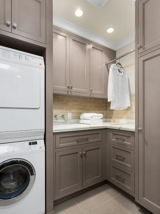 interessante waschküche-einrichtungsidee mit eckschrank grau