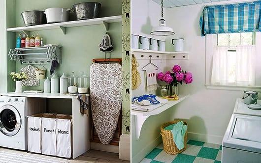 interessante waschkäche-einrichtungsidee mit wandregalen und wandfarbe grün
