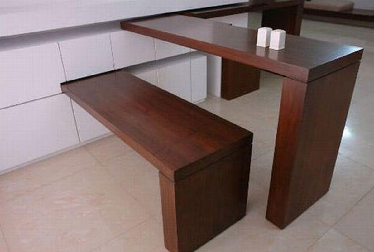 moderne küche mit kreative einrichtung mit platzsparender sitzecke