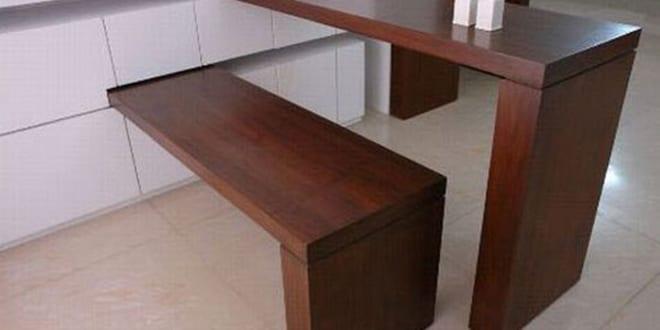 raumsparende idee f r kleine k chen mit drehebaren esstisch und holzsitzbank freshouse. Black Bedroom Furniture Sets. Home Design Ideas