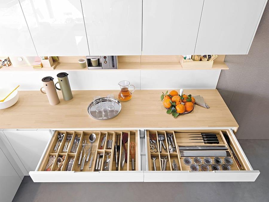 maximale anordnung in der küche durch schubladen für untensilien
