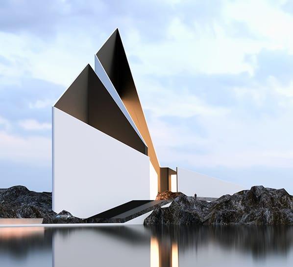 moderne architektur und modernes haus-design minimalistischer still mit schwarzen fassaden und außentreppe mit rampe