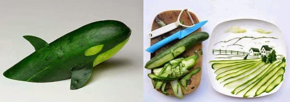 DIY Essen-Deko ideen mit gurken für kinder-partys und coole teller-deko