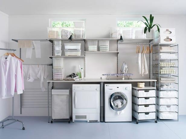 interessante einrichtung waschküche mit wandregalsystem