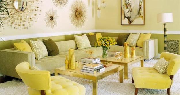 wohnzimmer farbgestaltung in grün mit polstermöbel grün und ...