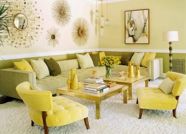 Farbgestaltung Für Optische Raumvergrößerung - Freshouse Wohnzimmer Grun Gelb