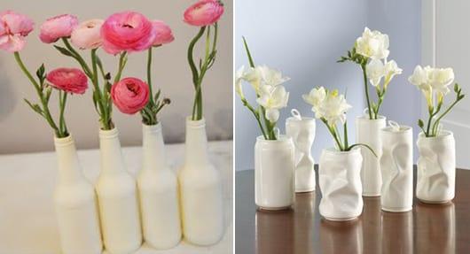 DIY Glasvase aus Flaschen in weiß als idee für DIY Tischdeko