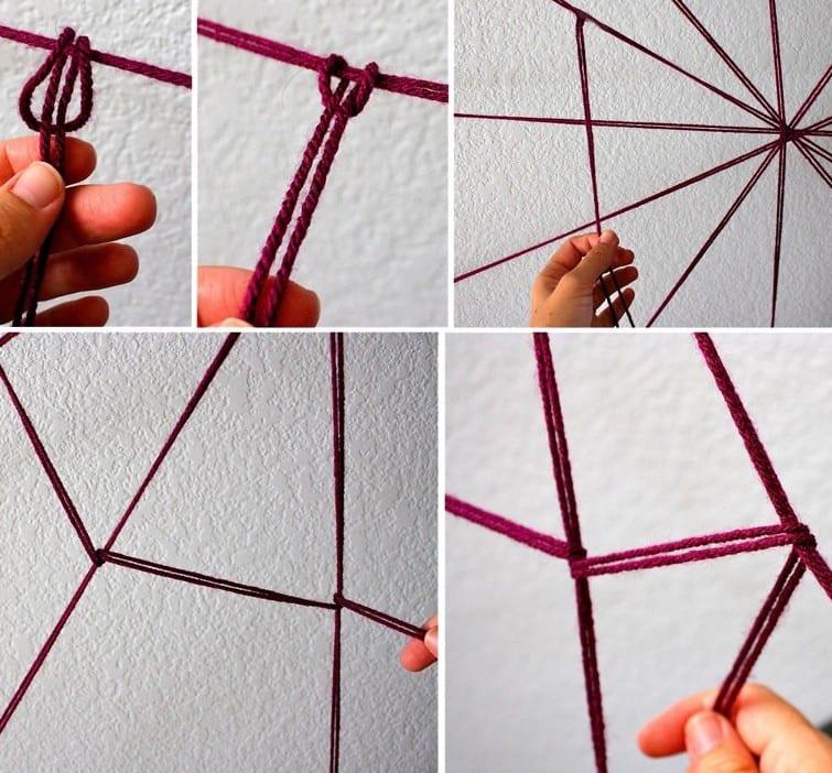 ideen halloween mit DIY Spinnengewebe aus DIY Spinngewebe aus Strickgarn in violett