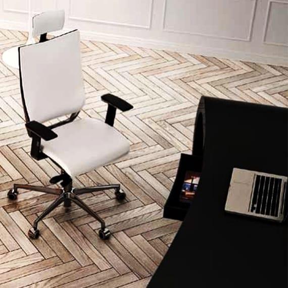 designer schreibtisch schwarz mit bürostuhl höhenverstellbar in weiß
