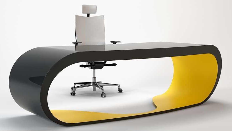 schreibtisch modern in gelb und schwarz für moderne büroräume und als sekretär möbel