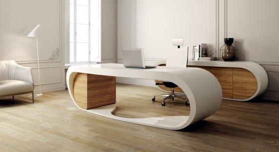 Büroschrank weiß  büroräume einrichtung mit designer schreibtisch weiß und ...