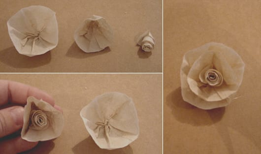 DIY-Rosen aus Kaffeefilter als kreative bastelidee für Do-It-Yourself Dekoration mit Papierrosen