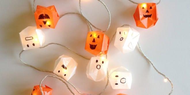bastelidee fuer diy papier laterne als kreative halloween dekoration mit origami leuchten. Black Bedroom Furniture Sets. Home Design Ideas