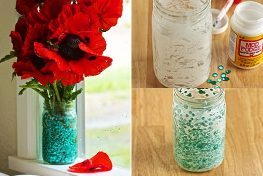 Blumenvase mit pailletten selber dekorieren