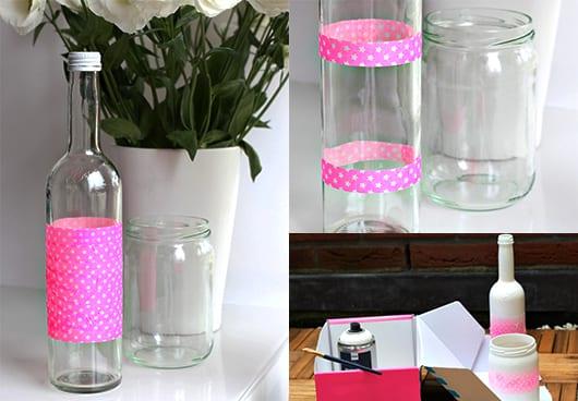 blumenvase aus glasflaschen selber basteln und in weiß streichen