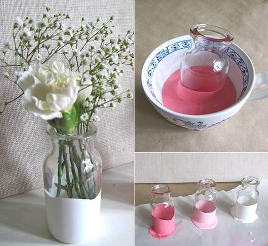bastelidee mit farbe für selbstgemachte Blumenvase in weiß und rosafarbe