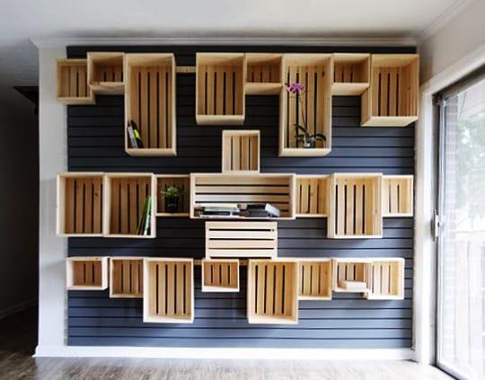 coole wandgestaltung mit paletten und kreative streichen idee