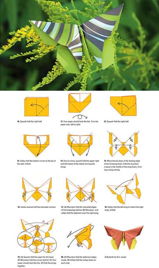 schmetterling-dekoidee mit origami-schmetterlingen in grün