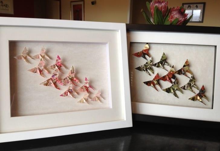 bilderrahmen dekoration mit schmetterling-origami