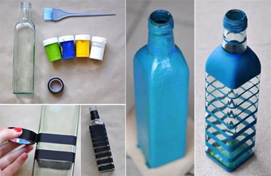 Blumenvase zum selbermachen mit acrylfarbe blau als coole DIY Tischdeko