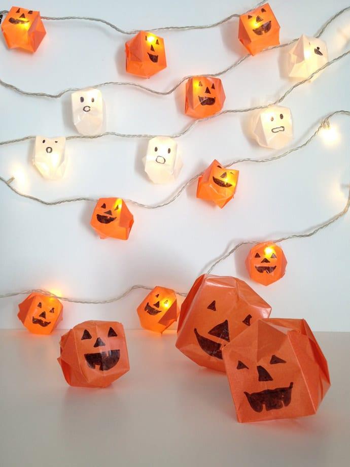 interessante haloween deko ideen für kreative Halloween dekoration mit selbgemachten origami-laternen