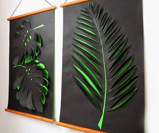 kreative wandgestaltung flur und wohnzimmer mit DIY 3D Bildern aus Papier in grün und schwarz