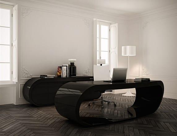 büromöbel in schwarz für moderne büroräume mit parkett und ergonomischer bürostühl weiß