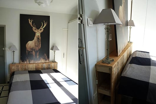 kleine schlafzimmer inspiration und dekoidee mit diy kopfteil aus holz mit nachttischlampen und bilddekoration