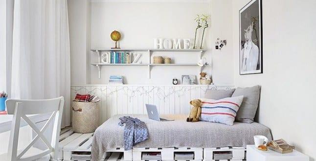 diy bett aus wei en paletten als coole kinderzimmer wohnidee f r gestaltung und dekoration in. Black Bedroom Furniture Sets. Home Design Ideas