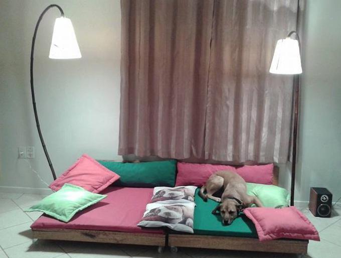 idee für diy hundebett  und DIY Sofa auf rollen aus paletten