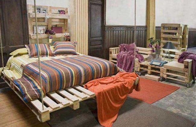 schlafzimmer einrichten mit DIY möbel aus paletten