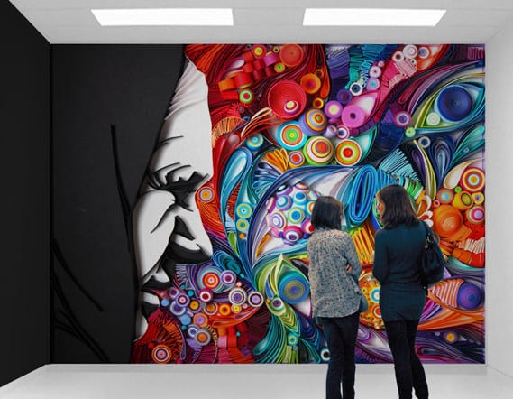 Wanddekoration Aus Farbigem Papier Als Moderne Wandgestaltung