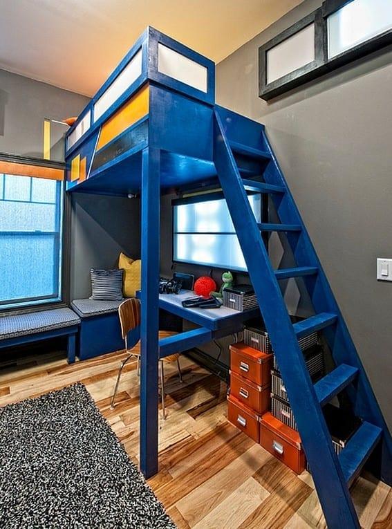 kleines kinderzimmer kreativ einrichten mit hochbett und modern gestalten in grau und blau