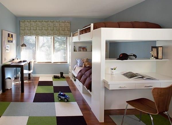 kinderzimmergestaltung junge mit etagenbett weiß und bettwäsche braun_kinderteppich in grün und braun