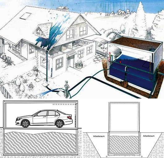 moderne betonfertiggaragen mit wasserspeicher zum gartenbewässerung
