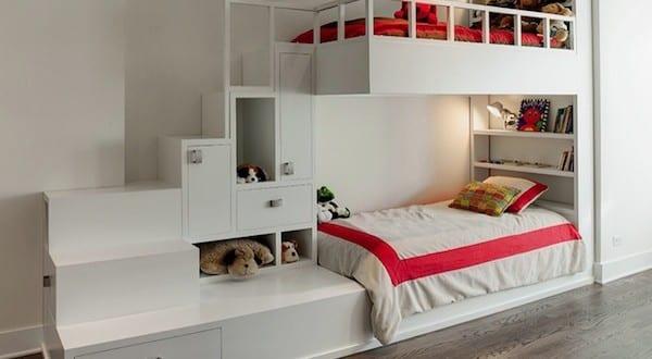 kleines kinderzimmer modern einrichten mit etagenbett_ space