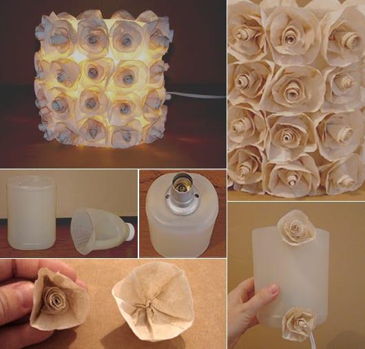zylinder-lampe selber machen aus weißer plastikflasche und papierblumen