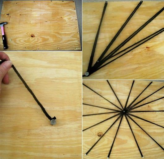 basteln mit holz und strickgarn als coole halloween idee für DIY Spinnengewebe-Deko