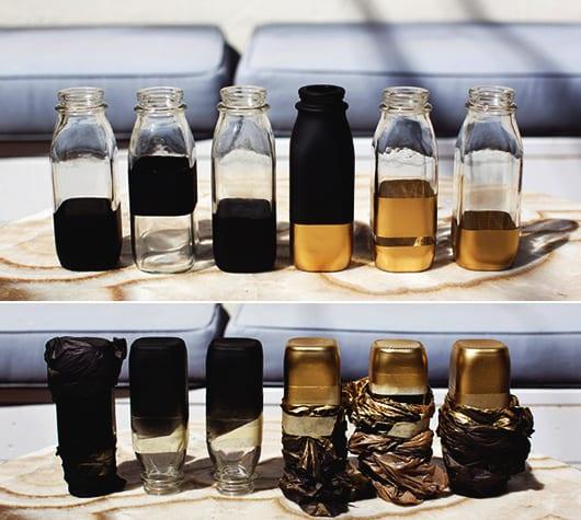 designer-Glasvasen zum selber basteln in schwarz und gold