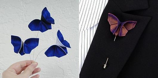 Origami schmetterling als dekorationsidee für hochzeit