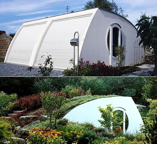 moderne beton garagen mit bogendach und dachbegrünung als coole gartengestaltung