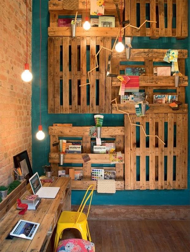 coole kinderzimmer einrichtung und wandgestaltung mit DIY Wandregalen aus paletten_was kann man aus paletten bauen