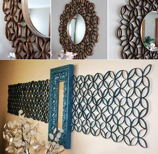 moderne wandgestaltung flur mit Spiegeln und Blumen-Deko aus papphülsen