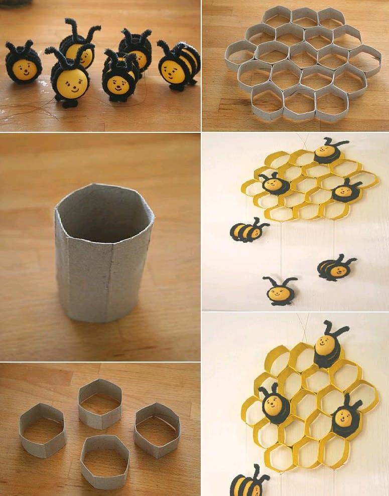 kinderzimmer wandgestaltung ideen mit Papphülsen als DIY Wanddeko