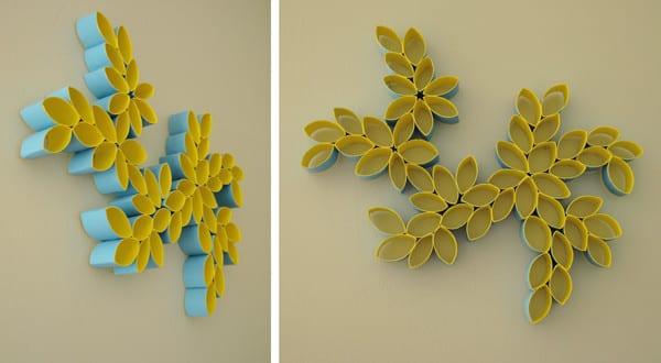Kreative wandgestaltung mit papph lsen als wanddekoration selber machen in blau und gelb freshouse - Wanddekoration selber machen ...