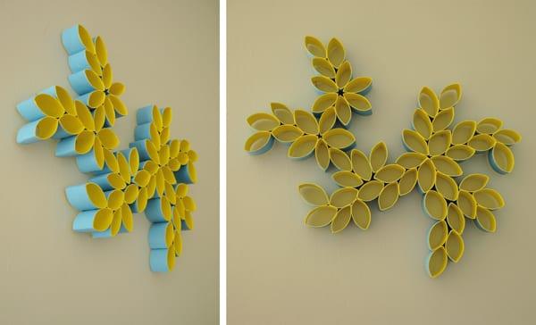 moderne wandgestaltung wohnzimmer mit DIY Papierblumen