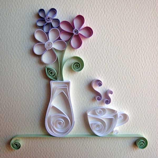kreative wandgestaltung küche mit deko aus papier