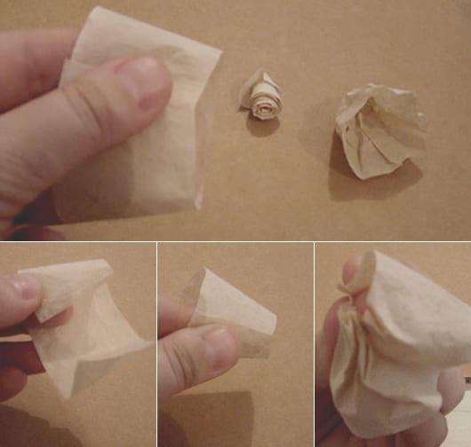 bastelidee mit kaffeefiltern für selbstgemachte Rosen aus papier