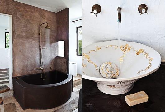 luxus-badezimmer-mit-wandfarbe-braun-und-beton-badewanne-in-schokolade-braun
