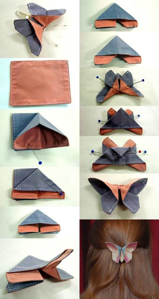 kreative frisur-dekoration mit schmetterling-Origami aus Textil